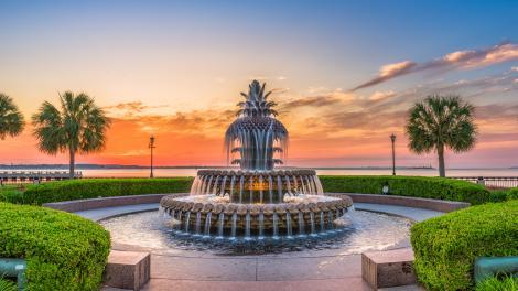 La famosa Pineapple Fountain en Charleston, Carolina del Sur