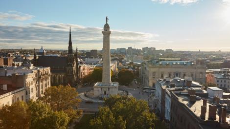 Washington Monument en el barrio Mount Vernon de Baltimore, Maryland