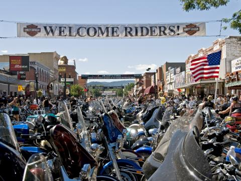 Motorcycles lining streets of Sturgis for the annual rally in August