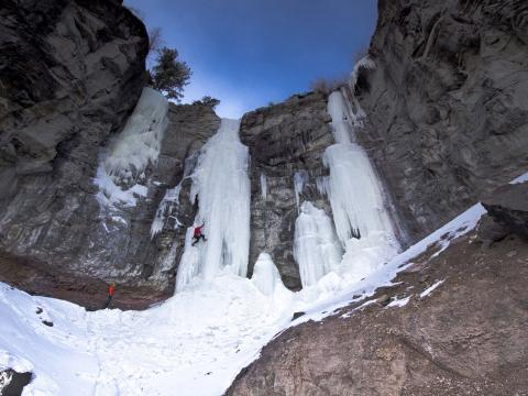 Scaling the ice at the Cody Ice Climbing Festival