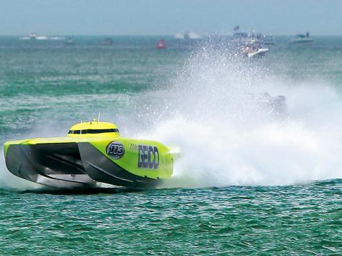 A speedboat competing at the Clearwater Super Boat National Championship