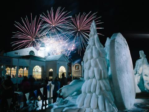 Sculptures and fireworks at Snowfest