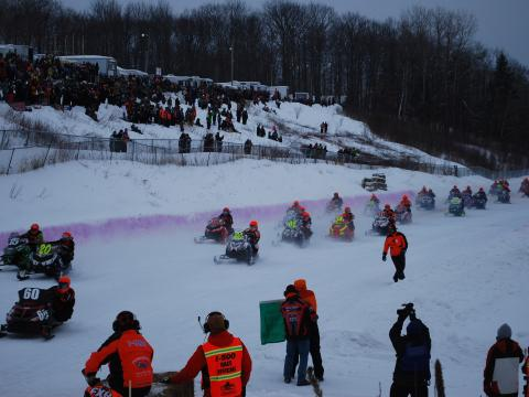 Rip-roaring entrants in the Annual I-500 Snowmobile Race