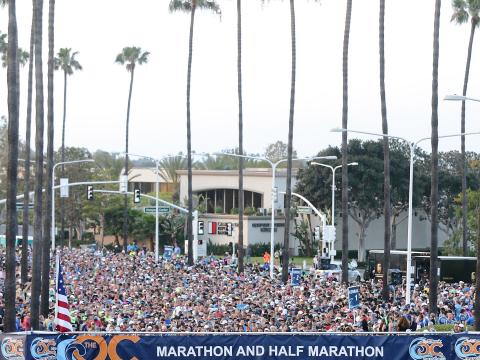 Runners ready to go at the Orange County Marathon