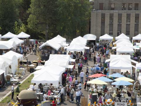 The many tents of the Greenwich Village Art Fair