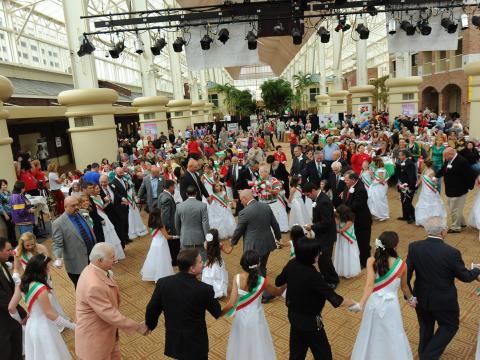 Wearing the colors of the flag and dancing at the Italian Heritage Festival
