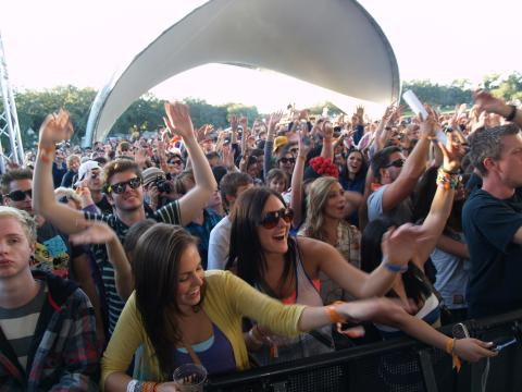 The crowd gets into the music at VooDoo Fest