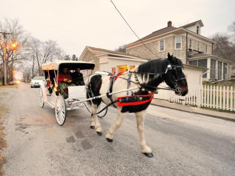 A horse drawn carriage on the Elsah Historic Home Tour