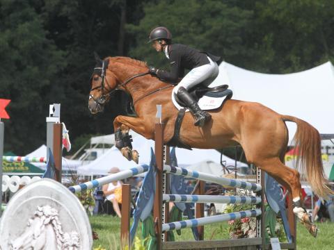 Soaring through the air during Richland Park Horse Trials