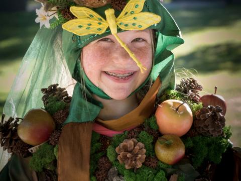 Joining in on the Fairy House Festival dress-up fun