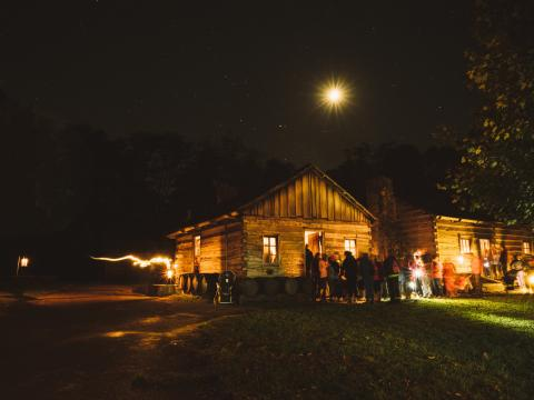 The spooky setting of Lincoln's New Salem Candlelight Tour