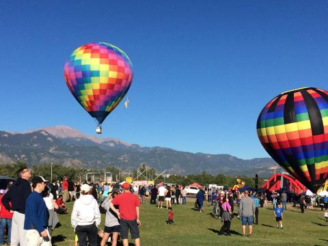 Hot-air balloons ascend during Colorado Springs Labor Day Lift Off