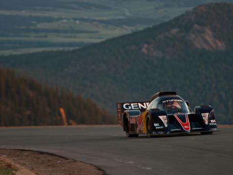Driving to win in the Pikes Peak International Hill Climb