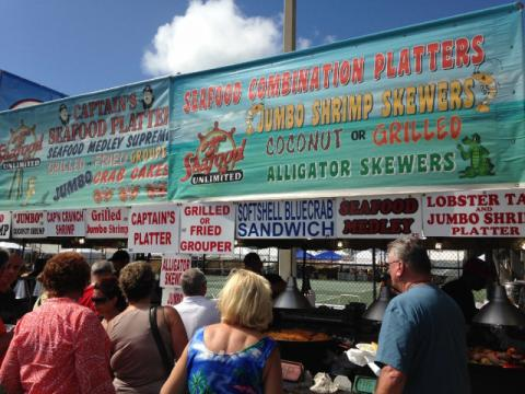 Lining up for delicious Florida seafood at the Everglades Seafood Festival in Naples