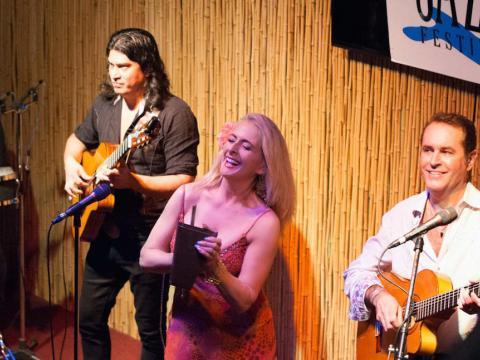 Jazz trio performing during the Amelia Island Jazz Festival