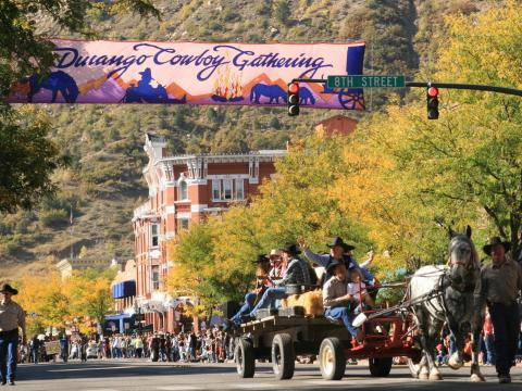 Motorless street parade during the annual Durango Cowboy Poetry Gathering