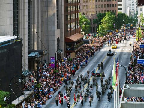 The Dragon Con parade on Peachtree Street in Atlanta, Georgia