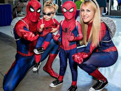 Spider-man fans at the StocktonCon event in Stockton, California